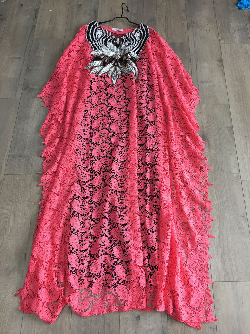 African Dresses for Women Dashiki Lace African Clothes Bazin Broder Riche Sexy Embroidery Sequins Robe Evening Long Dress 2020 12