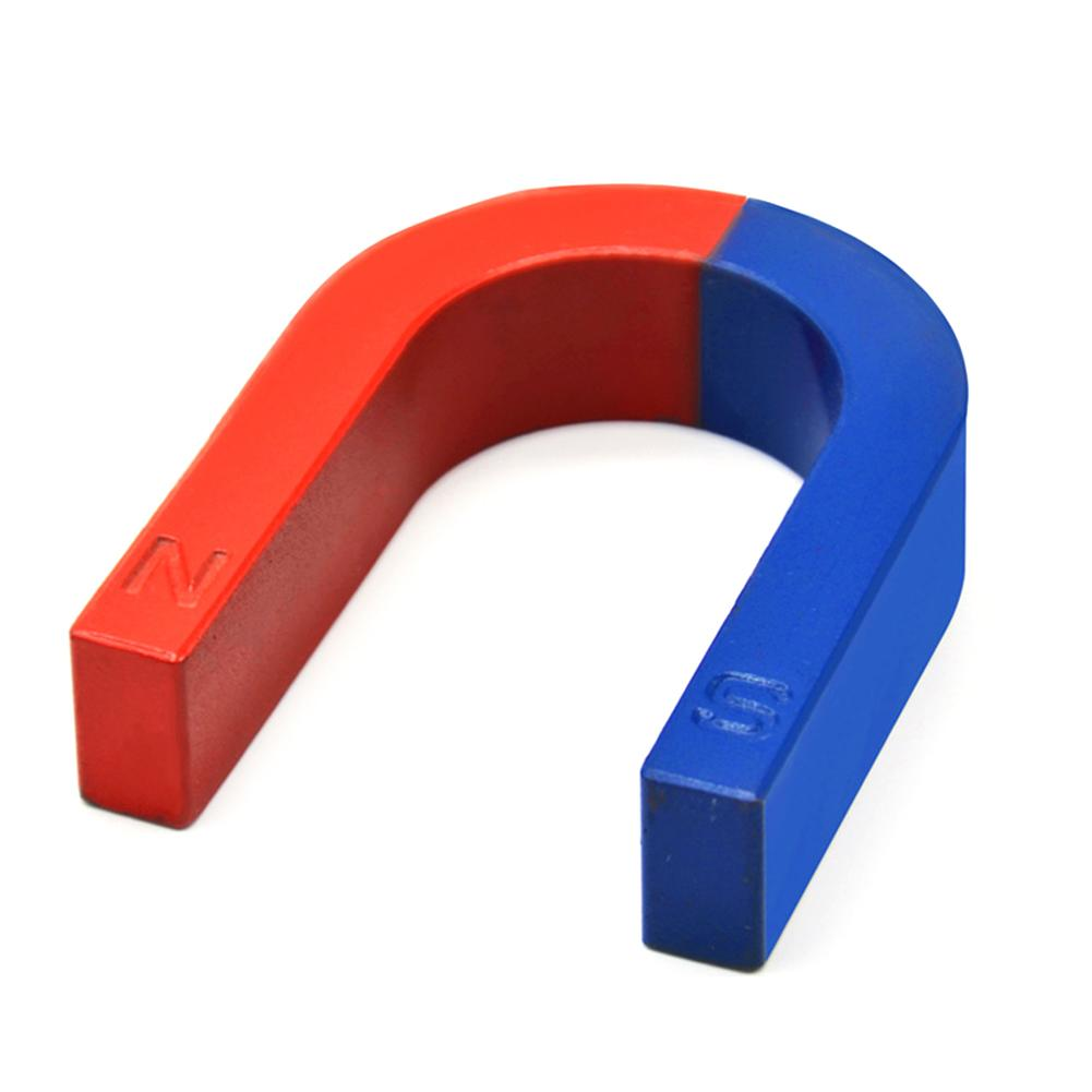 Experiment Tool Children Student PhysicsPole Teaching Red Blue Painted U Shaped Horseshoe Magnet