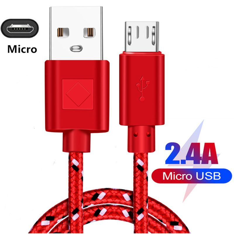 Micro USB Cable Nylon USB Cable 1m 2m 3m for Samsung S7 S6 2.4A Fast Charging for Huawei for Xiaomi Tablet Cables