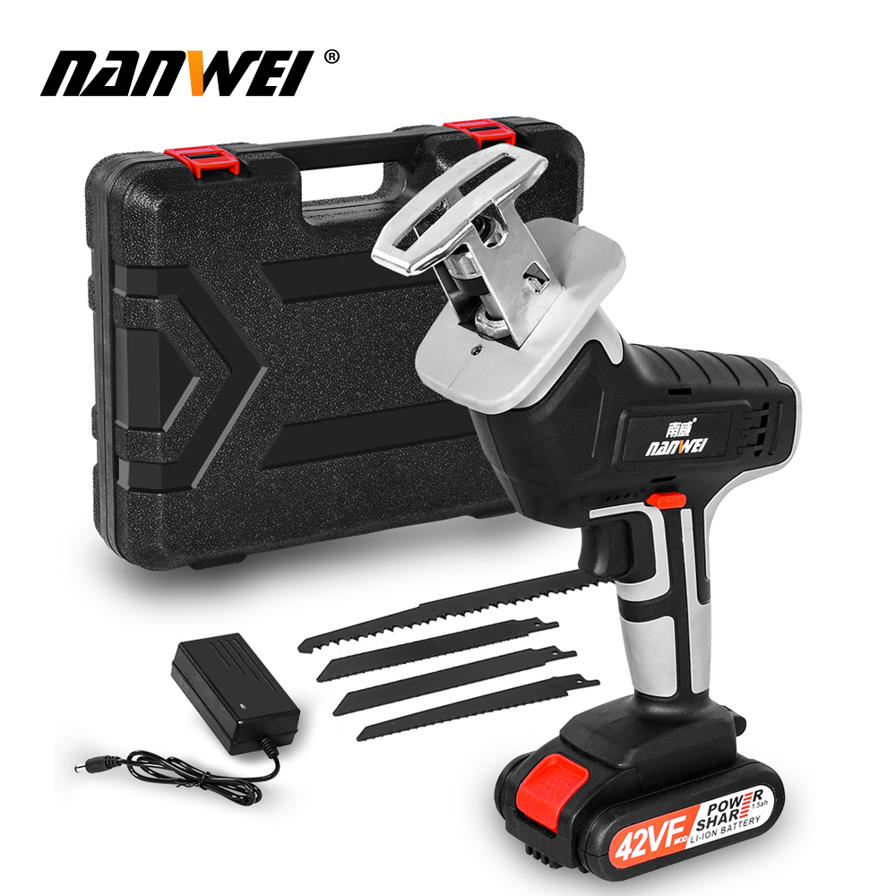 18V42vf NANWEICordless Electric Lithium Power tool Portable and rechargeable Hand Reciprocating Saw Saber Saw Multi-function saw - Цвет: 42VF 1B set2