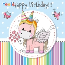 Yeele Unicorn Birthday Photocall Rainbow Stripes Photography Backdrops Personalized Photographic Background For Photo Studio