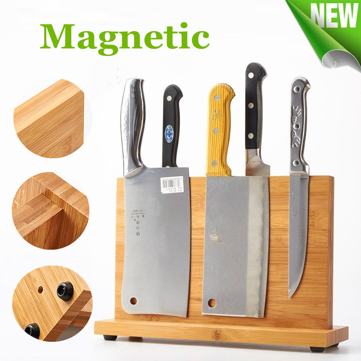 NEWEST Bamboo Magnetic Knife Holder Knife Rack Kitchen Bar Storage Block Knife Stand Organizer Tools Knife Accessories Gadgets