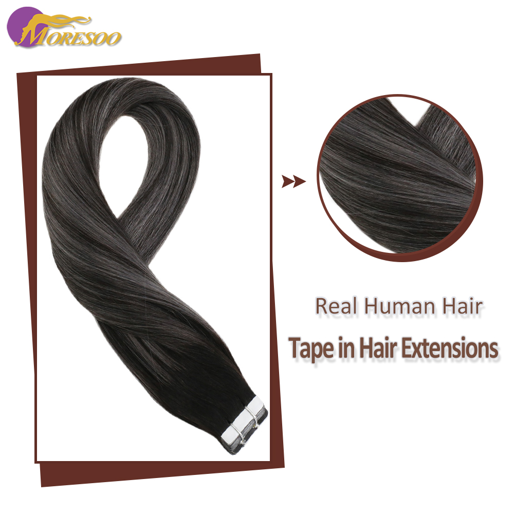Moresoo Tape In Machine Remy Human Hair Extensions Skin Weft Adhesive Hair Glue On Extensions Natural Black Fading To Silver