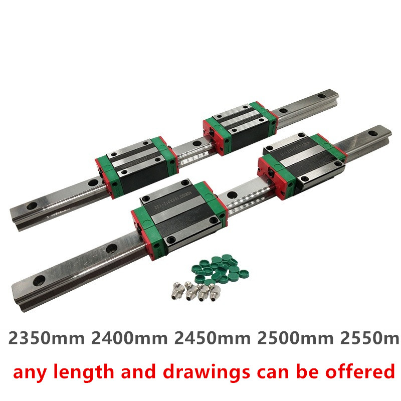 2 set HGR20--1000mm Linear Rail Guaid /& 4 Pcs HGW20CC Block Carriage Bearing