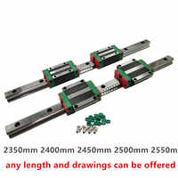2pcs HGR20 HGW Linear Rail 2350mm 2400mm 2450mm 2500mm 2550mm+4pcs HGW20CC HGH20CA CNC Linear Guide Rail Block kit