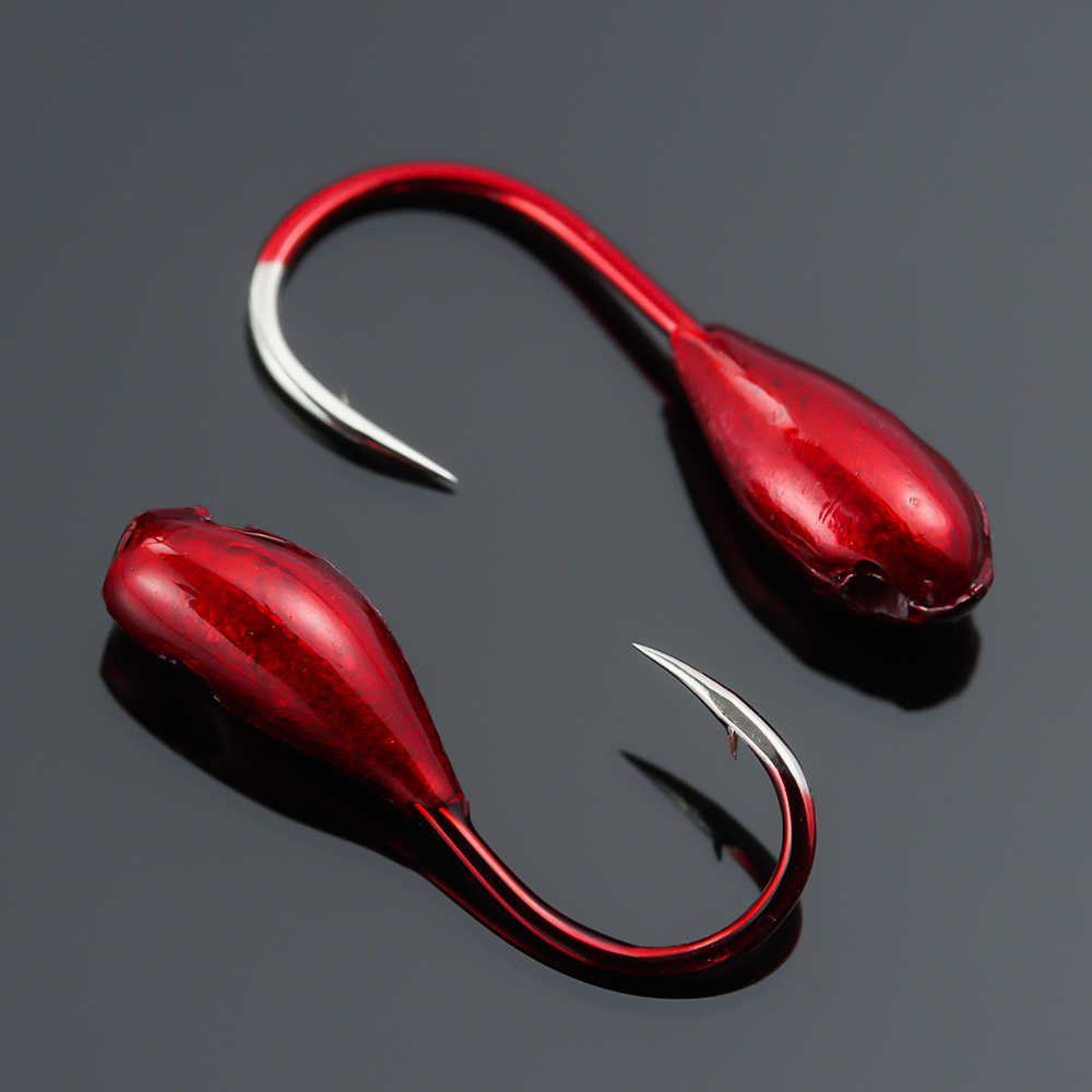 Details about  /Ice Lake Head Lead Overturned Lure Bait Fishing Tackle Fishing Hooks Red Worm