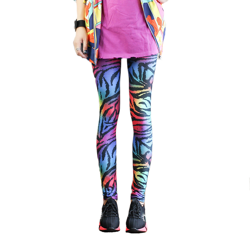 Women Colorful Animal Print Leggings Thin Breathable Milk Silk Pencil Nine Pants Leopard Zebra Printed Street Fashion One Size