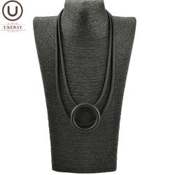 UKEBAY nouveau pendentif rond colliers pour femmes noir collier en caoutchouc bijoux fête vêtements accessoires gothique chandail chaîne tour de cou