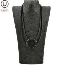 Женское колье с круглым кулоном ukebay черное ожерелье вечерние
