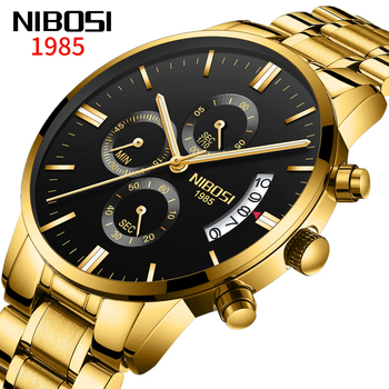 NIBOSI Mens Watches Top Brand Luxury Famous Men's Fashion Casual Dress Watch Military Chronograph Wristwatch Relogio Masculino image