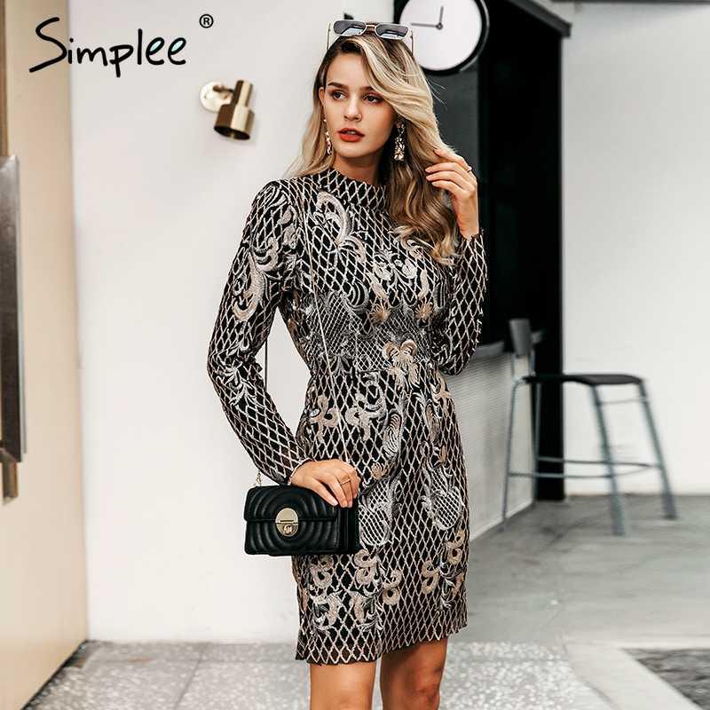 Женское осенне-зимнее мини-платье Simplee, с золотыми блестками, сексуальное элегантное облегающее платье с ромбовидным и цветочным рисунком, с открытой спиной, вечернее короткое винтажное платье