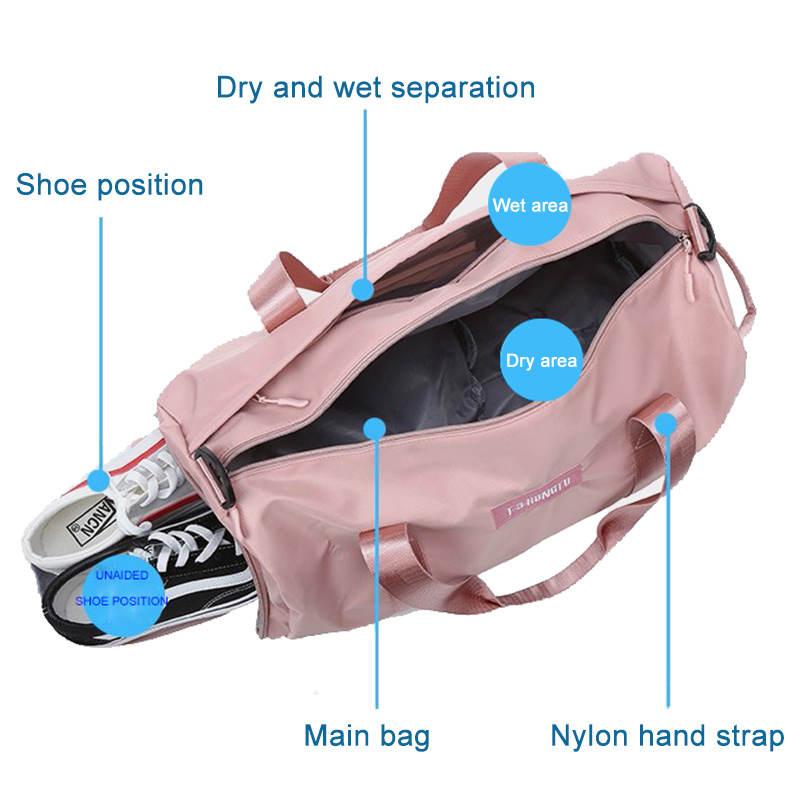 2019 New Soft Oxford Cloth Women Travel Bag Solid Color Men Sports Bag Can Put Shoes Round convenient Fitness Bags in Travel Bags from Luggage Bags