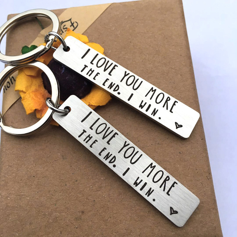Couple Keychain Lovers I LOVE YOU MORE THE END I Win Letter Print Keychain For Boyfriend Girlfriend Keyring Gifts Jewelry