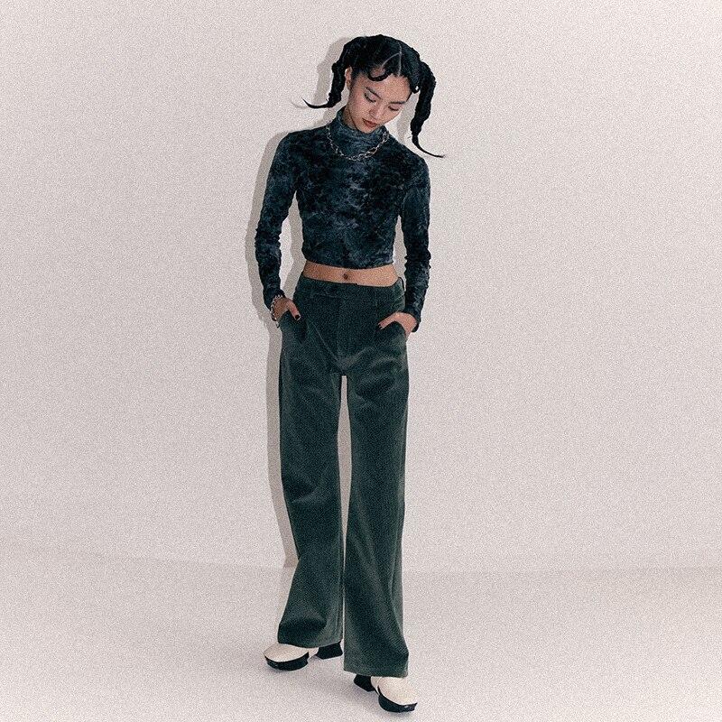 [EAM] Высокая талия Флокирование черно зеленые длинные широкие брюки новые свободные брюки женские модные весенне осенние 2019 1B912 - 4