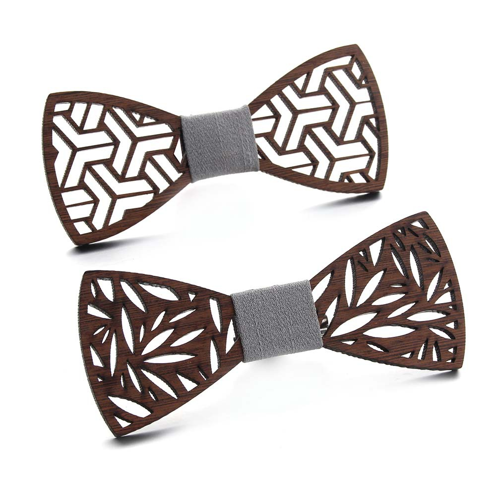 Western Style Mens Accessories Wooden Bow Tie Fake Collar  Men Neckties  Striped Shirt  Bowtie Handmade