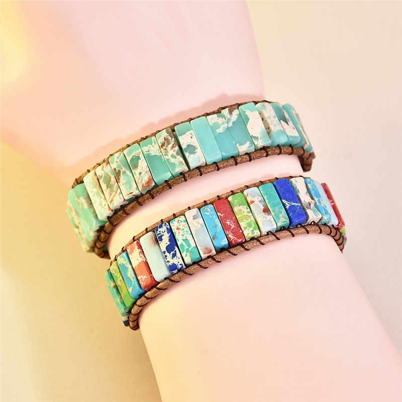 Chakra Bracelet bijoux fait à la main multicolore pierre naturelle Tube perles en cuir Wrap Couples Bracelets cadeaux créatifs livraison directe