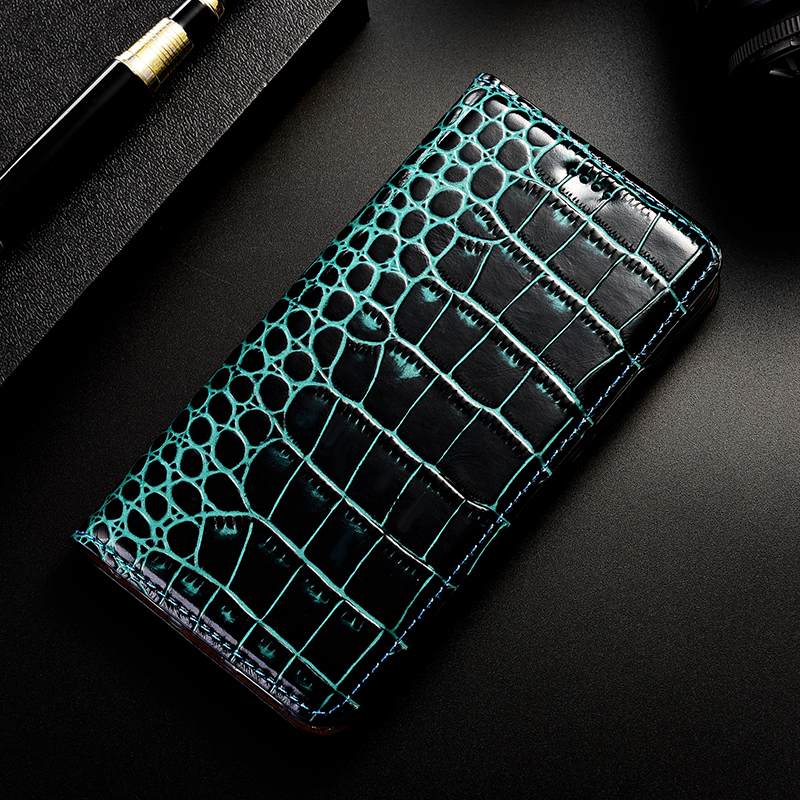 Crocodile Genuine Leather phone Case For Sony Xperia 1 2 20 Z X XA XA1 XA2 XA3 L1 L2 Z6 XL39H Plus Ultra Flip Stand Phone Cover
