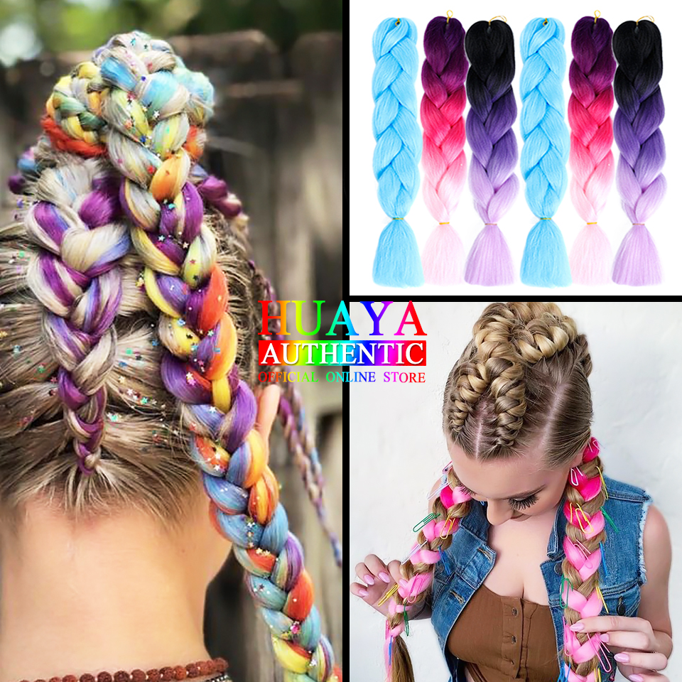 HUAYA 24'' Long Synthetic Crochet Jumbo Braid Pure Color/ Mixed Color Colored Braiding Hair Extension Pink Purple Gray 86 Colors