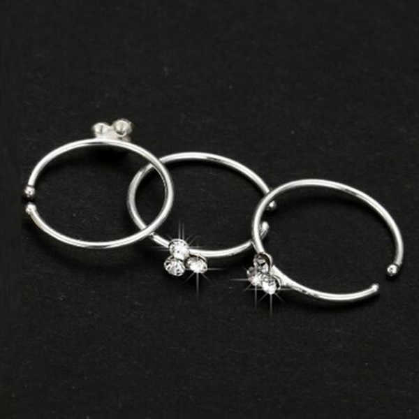 Newly Thin 3 Crystal Silver Diamante Nose Ring Hoop Stud Sparkly