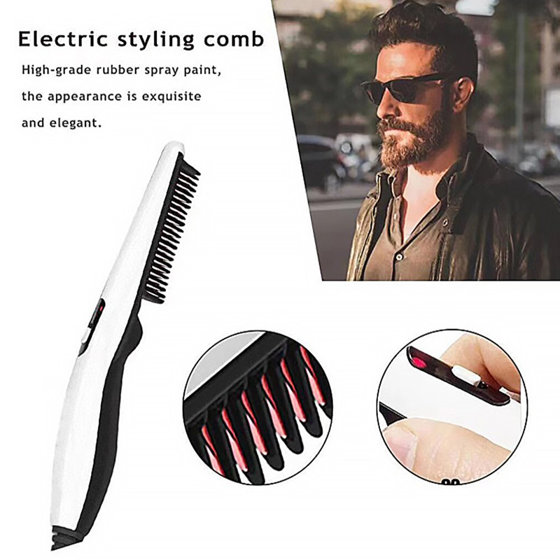Electric Beard Comb Brushes Men Beard Straightener Multifunctional Hair Curling Tool Brush Comb Quick Hair Styler Men