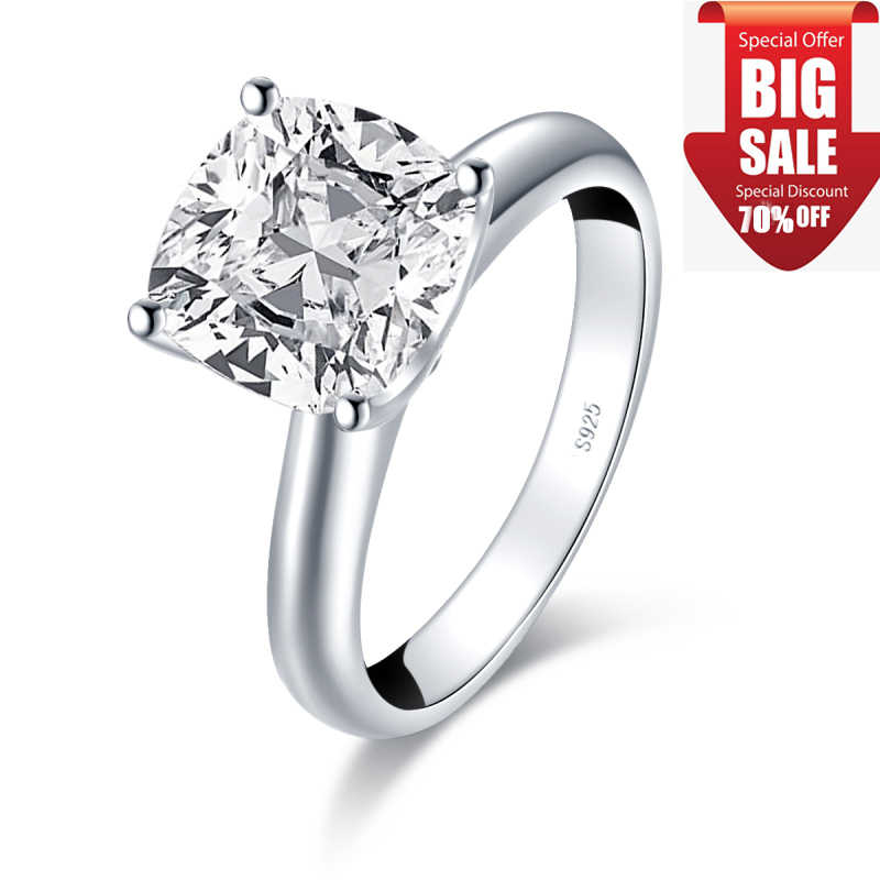 LESF Mode 3,0 CT Kissen Cut Solitaire Ring 925 Sterling Silber Engagement Shiny SONA Stein Hochzeit Silber Ringe