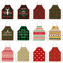 1Pcs Kitchen Cooking Apron Cute Style Printed Home Sleeveless Cotton Linen Aprons for Men Women Baking Accessories 55*68cm geometric style hot sale high quality cotton waterproof women aprons adjustable sleeveless kitchen cooking aprons