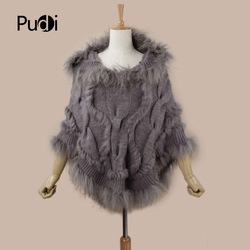 Pudi SRR008 Real Knitted hooded rabbit fur shawl poncho stole cape scarf wrap3 color winter poncho