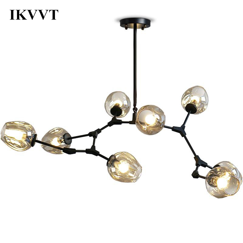 IKVVT Creative Molecule Pendant Light E27 Clear Glass 5/7/8/10/12Heads Dining Room Living Room Home Decor Light Lighting Fixture