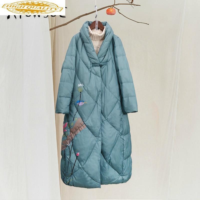 Winter Coat Women White Duck Down Jacket Women Clothes 2019 Vintage Print Elegant Puffer Jacket Women Warm Parka 19081901 YY2061