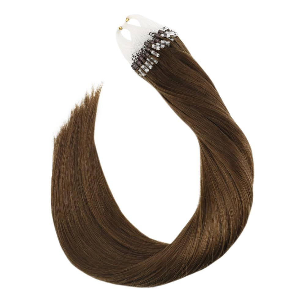 Micro Link Human Hair Extensions  Machine Remy Human Hair 50g/100g 14-24inch Solid Color #8 Brown Hair Micro Bead Hair