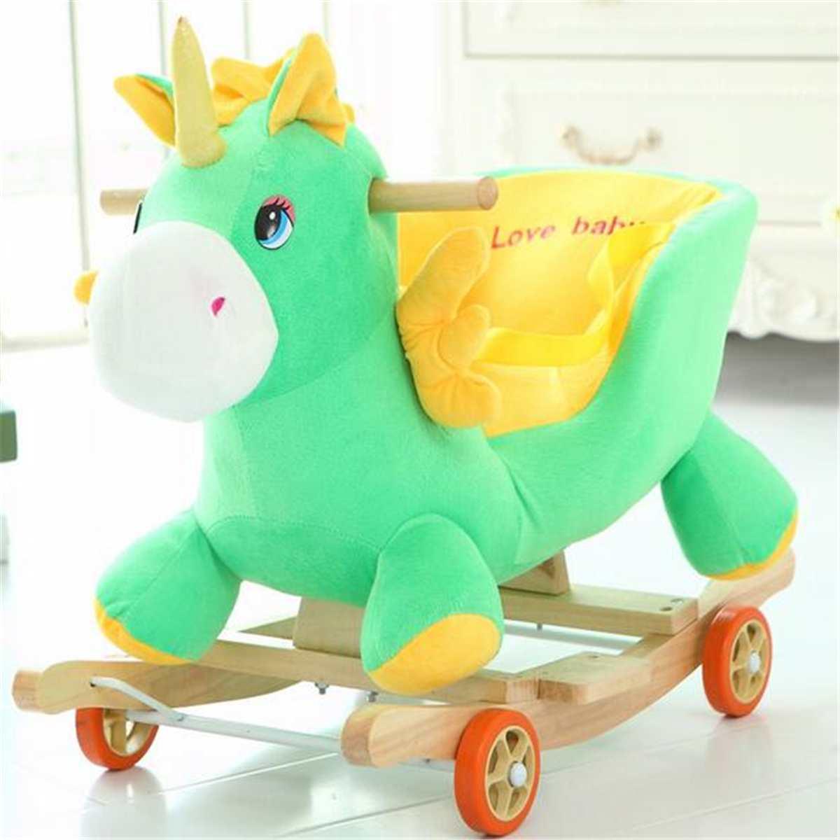 Mecedora de madera y plushh con música, mecedora de juguete troyano, cochecito de bebé, carrito infantil para regalo de cumpleaños para niños - 2
