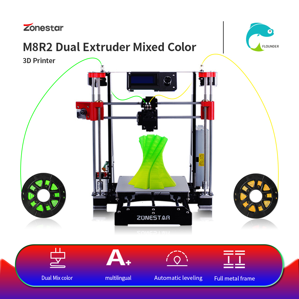 ZONESTAR Hot Sale Cheap Dual Extruder Black Metal i3 Auto Mix Open Source Upgrade Laser Engraving RepRap 3D Printer DIY Kit