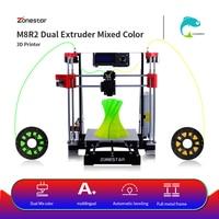 ZONESTAR Hot Sale Cheap Dual Extruder Black Metal i3 Auto Mix Open Source Upgrade Laser Engraving RepRap 3D Printer DIY Kit