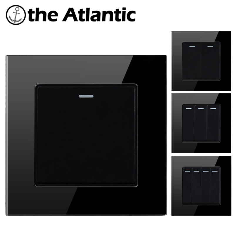 Atlectric 1 2 3 <font><b>4</b></font> <font><b>Gang</b></font> 1 2 Way Light Wall <font><b>Switch</b></font> On / Off Push Button <font><b>Switch</b></font> Glass Glass Panel Lamp <font><b>Switch</b></font> Interrupteur image