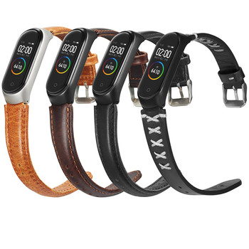 Genuine Leather Strap For Xiaomi Mi Band 3 4 Smart accessories Wrist Strap With Metal Case Cover For Xiaomi Mi Band 4 Wristbands