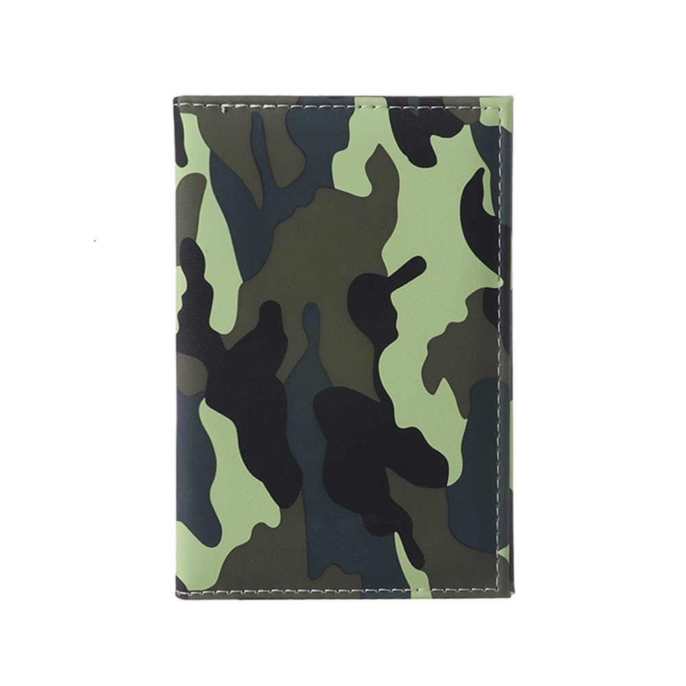 Travel Designer Army Camouflage Pu Passport Cover Women Men Credit Card ID Holder Case Ticket Wallet Document Clip Organizer