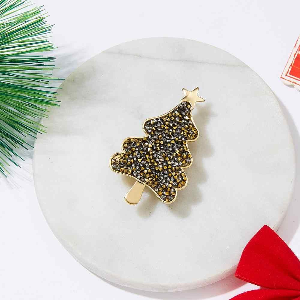 Rinhoo Strass di Cristallo Albero Di Natale Spille Donne Alla Moda Squisito Spilli Regalo Maglioni Accessori Dei Monili Di Natale