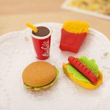 """5 шт. инструмент для рисования детский подарок школьный офисный напиток колы канцелярские милые принадлежности резиновый комплект торт ластик """"гамбургер"""" в форме еды"""