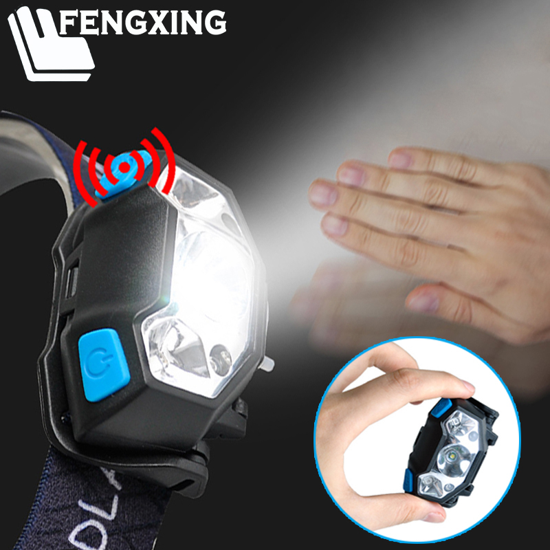 Powerfull LED Headlamp Mini Rechargeable Body Motion Sensor Headlight Dropshipping Camping Head Lamp Light Torch With USB Port