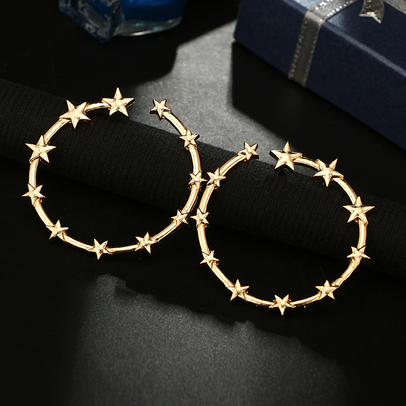 Simple Design Hollow Out Round Star Earrings Elegant Charming Women Wedding Jewelry Gift Fashion Girl Party Gold Color Earrings