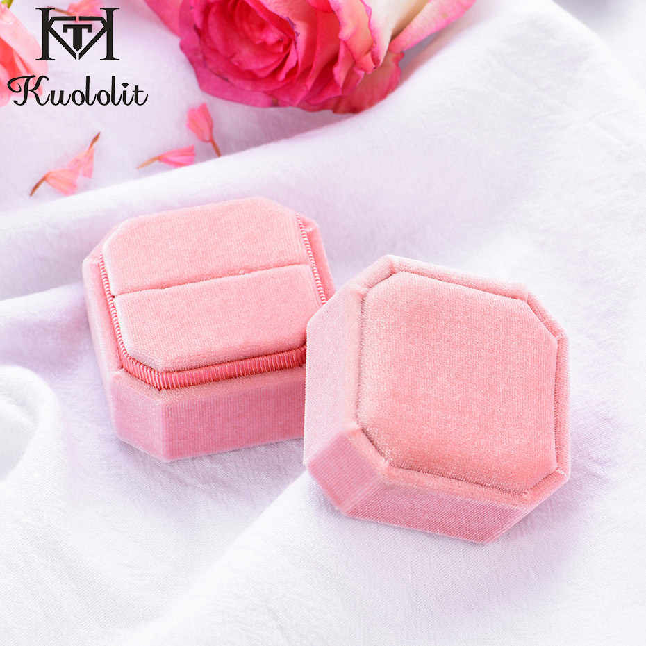 Kuololit Velvet jewelry Boxes for Women Wedding bride octagon Pink Ring boxes for Handmade velvet box Wholesale 2020 New arrival