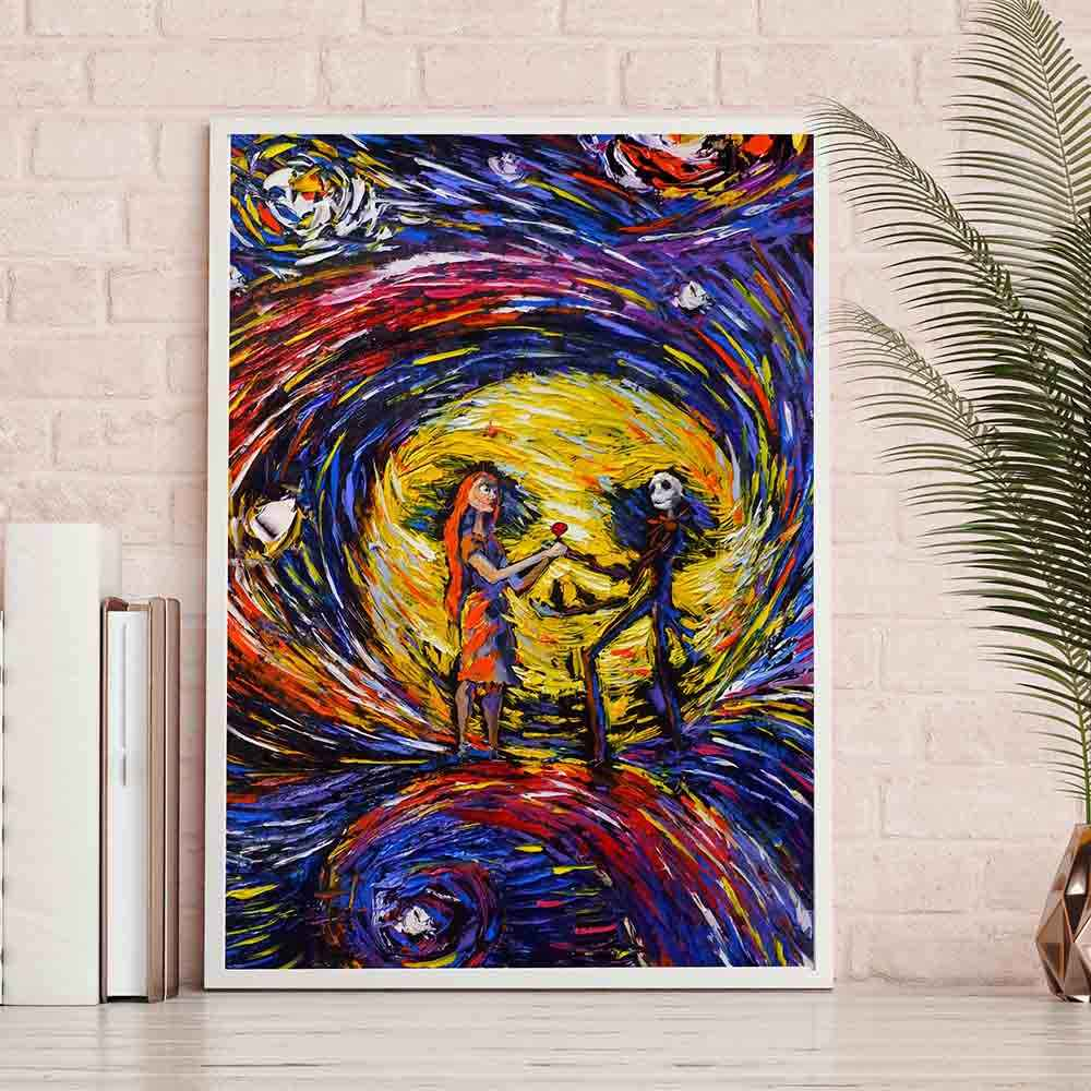 Home Decor Hd Pictures Canvas Print Nightmare Before Christmas Poster Vincent Van Gogh Starry Night Painting Wall Artwork Poster