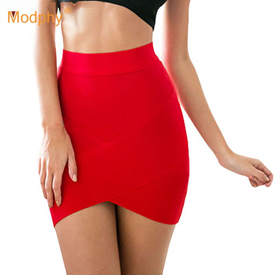 Bandage Skirt Short Pencil Tight Elastic Slim Mini Sexy Women Party-Candy 12-Colors Rayon