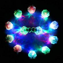 12Pcs LED Light Up Flashing Ring Toy Flashing Big Faux Gem Finger Rings Toy Concert Bar KTV Party Favors 5 pcs faux gem elephant rings