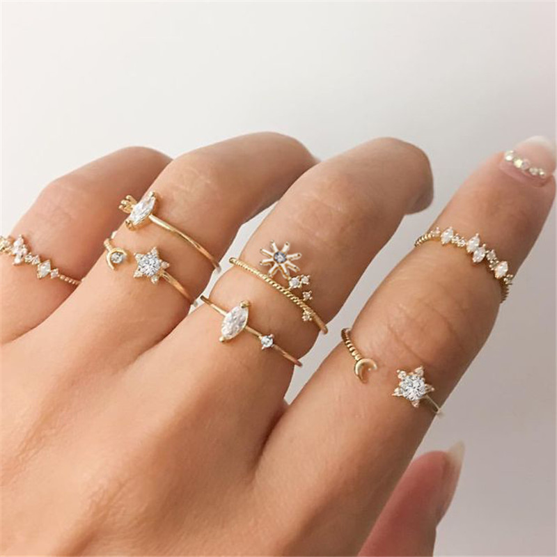 AY New Design Bohemian Gold Rings For Women Vintage Moon Star Knuckle Finger Rings Set 2020 Female Jewelry Fashion Statement(China)