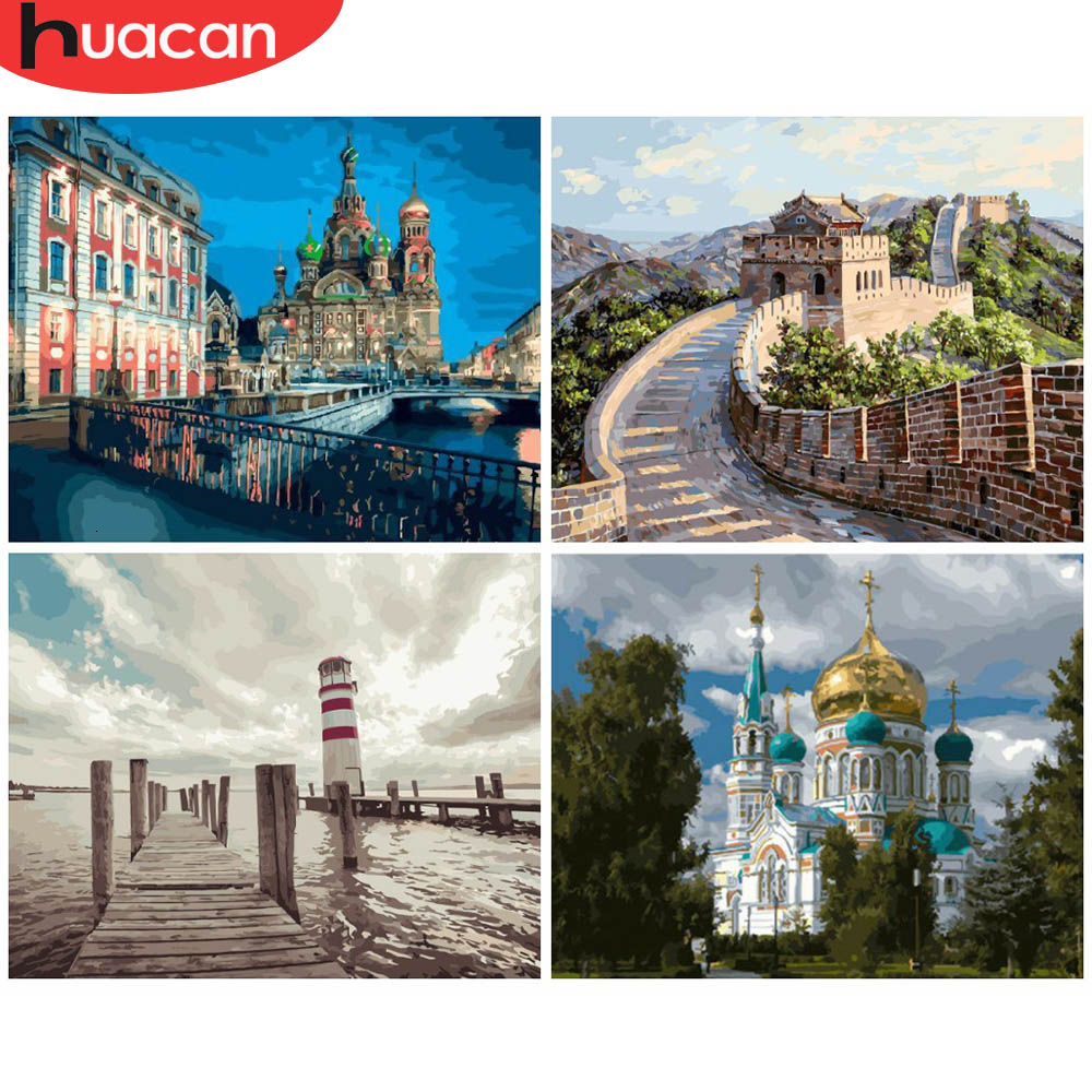 HUACAN Painting By Numbers City Landscapes Acrylic Drawing Canvas Pictures For Adults Home Decoration Gift