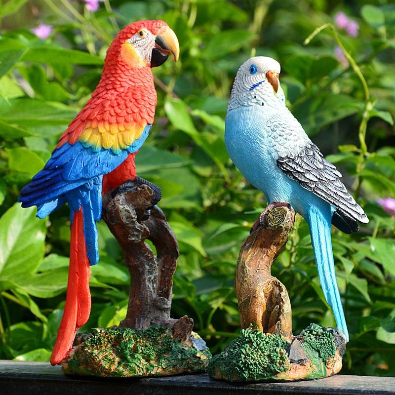 Durable Fake Simulation Parrot Desktop Ornament Figurine Resin Patio Decoration Half Side Lifelike Sculpture Garden Floor Jardin