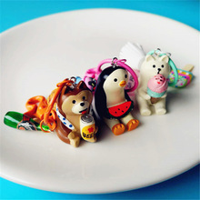 Summer Animal Keychain Keyring Dog polar bear penguin with ice-cream Beer watermelon Car KeyChain Holders Pendant