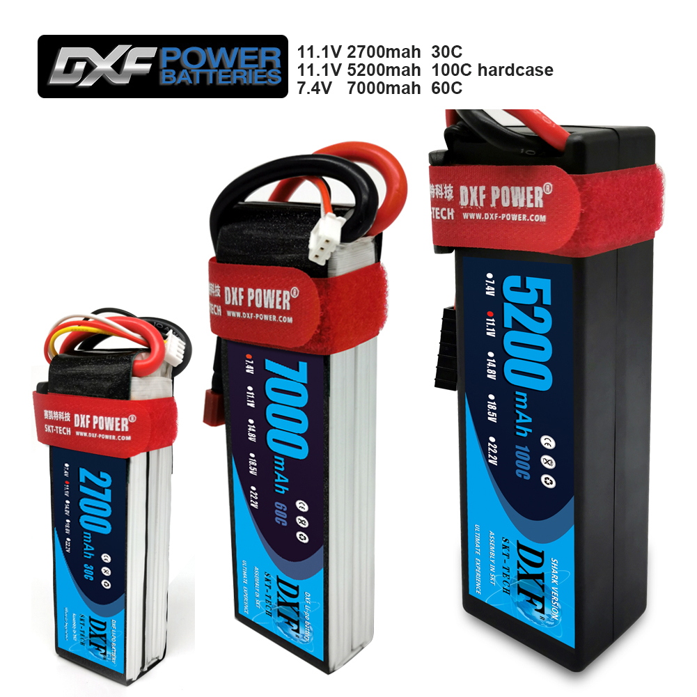 DXF 2PCS Battery lipo2S 7.4V 7000mah 60C/ lipo3S 11.1V 5200mah100C Hardcase /11.1V 2700mah 30C For Drone Helicopter 1/8 RC CAR(China)