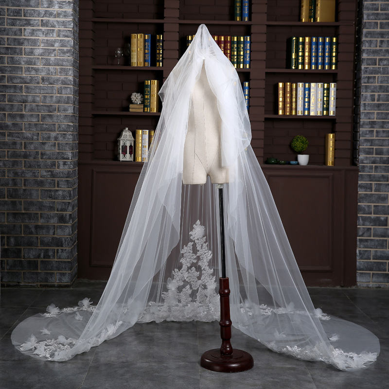 Bridal Veil 3 M Wide Sequins Sticky Flowers Mopping Korean Soft Veil Tail